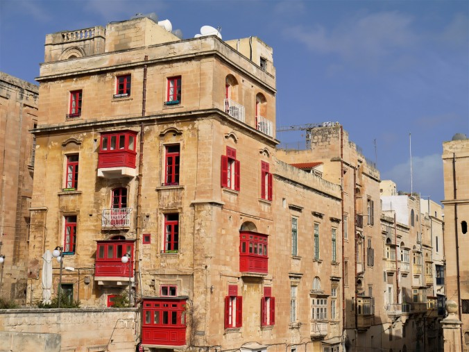 Valletta building with red baconies