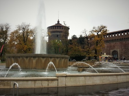 Fountain in front of Sforza Castle