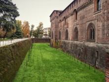 Grassy moat around Sforza Castle