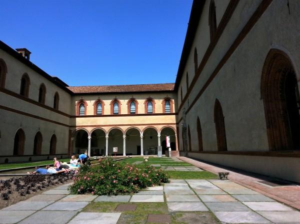Sunny Sforza Castle inner courtyard