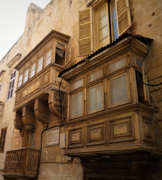 Valletta sand-coloured balconies shutters