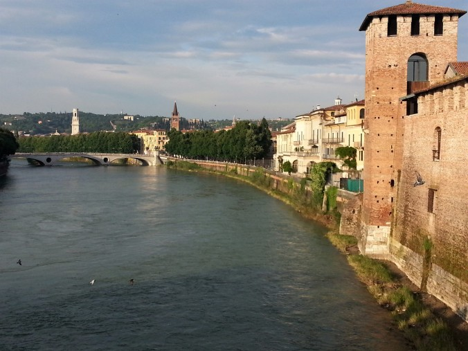Sunshine on Adige river Verona